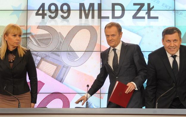 Premier Donald Tusk na konferencji po posiedzeniu rządu /Bartłomiej Zborowski /PAP