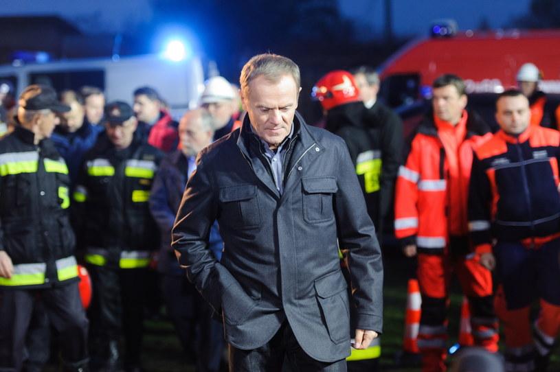 Premier Donald Tusk odwiedził Janków Przygodzki /Jakub Kaczmarczyk /PAP