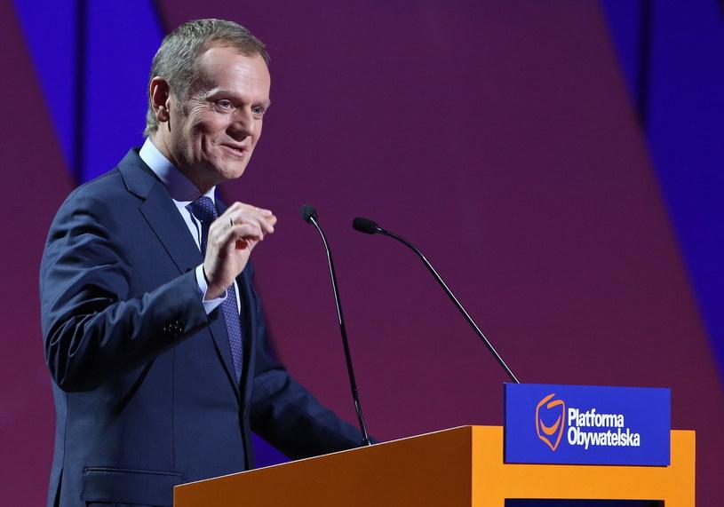 Premier Donald Tusk podczas Konwencji Krajowej Platformy Obywatelskiej /Rafał Guz /PAP