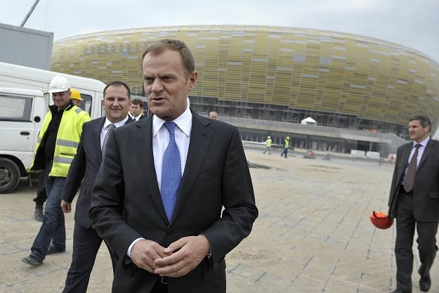 Premier Donald Tusk podczas wizytacji PGE Baltic Arena w Gdańsku /PAP