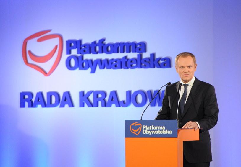 Premier Donald Tusk przemawia podczas Rady Krajowej PO. /Grzegorz Jakubowski /PAP