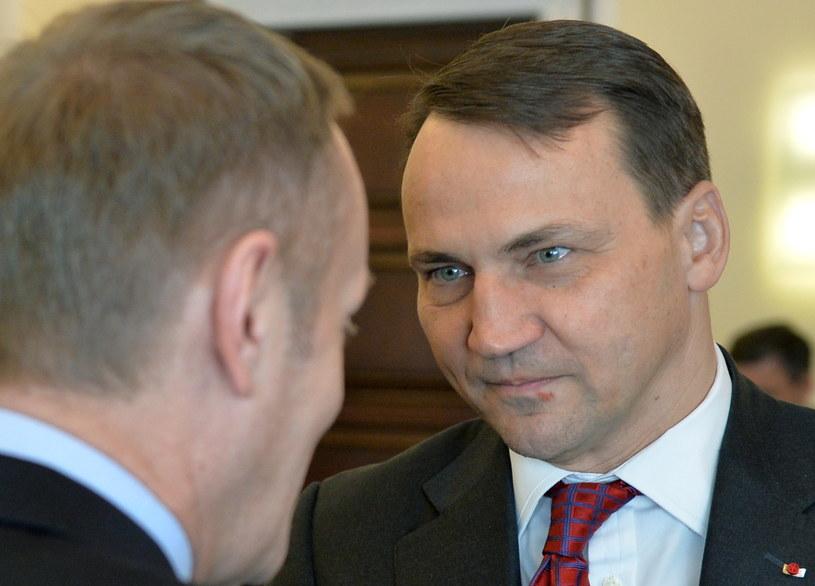 Premier Donald Tusk (tyłem) i minister spraw zagranicznych Radosław Sikorski (P). /PAP
