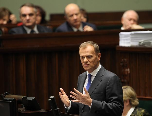 Premier Donald Tusk w czasie pierwszego czytania rządowego projektu ustawy o zmianach w OFE /PAP