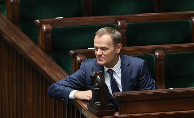 Premier Donald Tusk w ławach rządowych /PAP