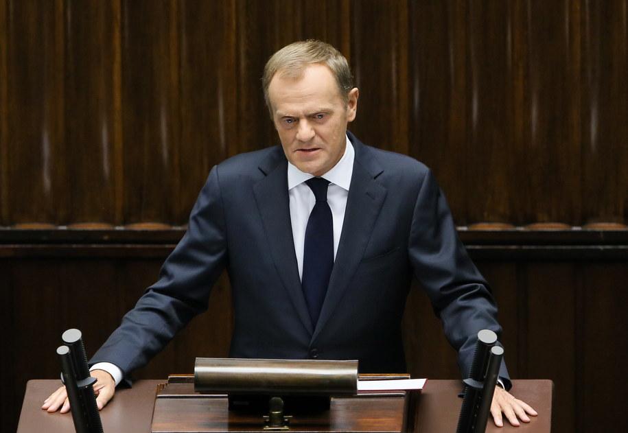 Premier Donald Tusk w Sejmie /Paweł Supernak /PAP