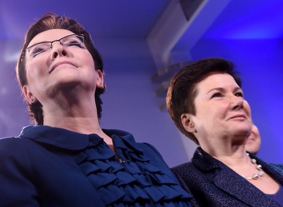 Premier Ewa Kopacz i prezydent Warszawy Hanna Gronkiewicz-Waltz podczas wieczoru wyborczego Platformy Obywatelskiej /Radek Pietruszka /PAP