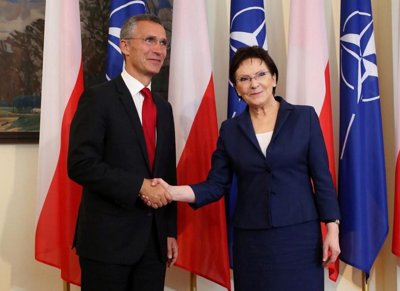 Premier Ewa Kopacz i sekretarz generalny NATO Jens Stoltenberg /Leszek Szymański /PAP