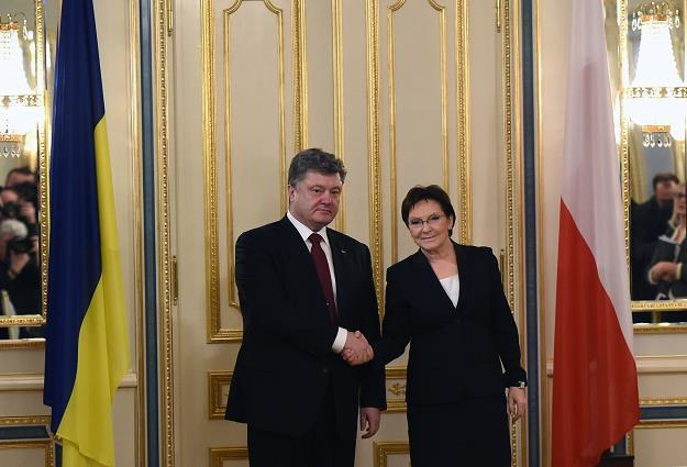 Premier Ewa Kopacz (P) i prezydent Ukrainy Petro Poroszenko (L) /PAP
