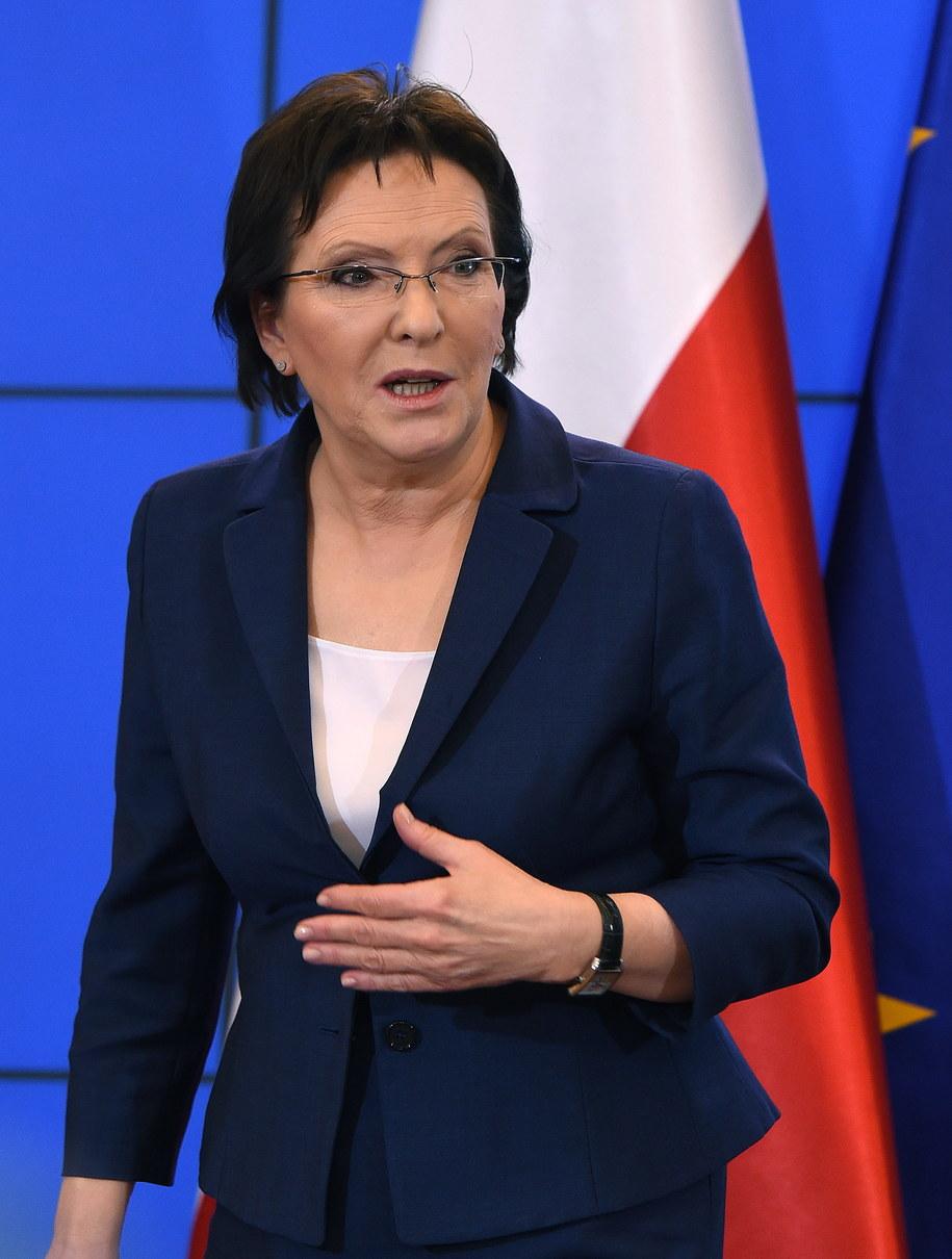 Premier Ewa Kopacz podczas konferencji prasowej podsumowującej pierwsze sto dni działań rządu /Radek Pietruszka /PAP