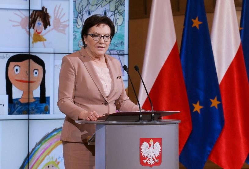 Premier Ewa Kopacz podczas obchodów Dnia Edukacji Narodowej w KPRM /Paweł Supernak /PAP