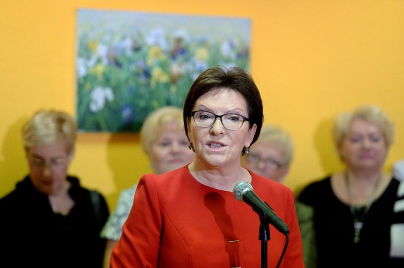 Premier Ewa Kopacz podczas otwarcia dziennego domu Senior-WIGOR /Piotr Polak /PAP