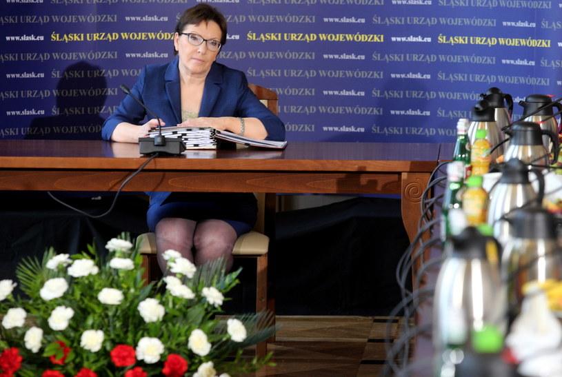 Premier Ewa Kopacz podczas wyjazdowego posiedzenia rządu w Urzędzie Wojewódzkim w Katowicach /Andrzej Grygiel /PAP