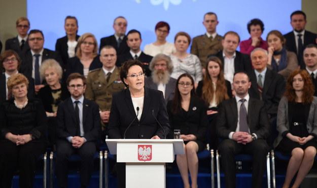 Premier Ewa Kopacz podczas wystąpienia w związku z półroczem rządu /Radek Pietruszka /PAP