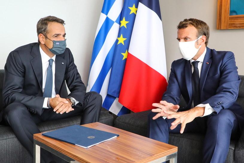Premier Grecji Kyriakos Mitsotakis i prezydent Francji Emmanuel Macron. /LUDOVIC MARIN / POOL /PAP/EPA