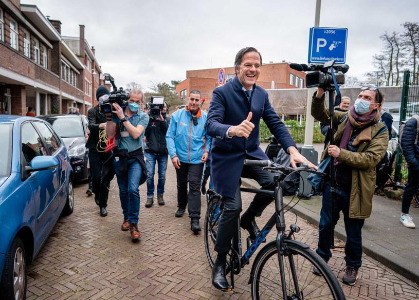 Premier Holandii Mark Rutte po oddaniu głosu /PAP/EPA