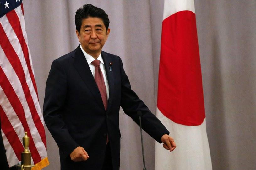 Premier Japonii Shinzo Abe podczas konferencji po spotkaniu z Donaldem Trumpem /AFP
