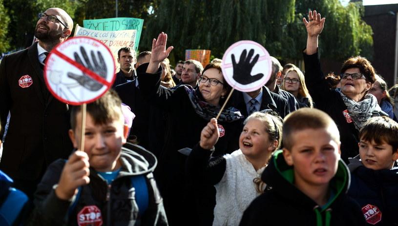 Premier Kopacz na marszu przeciw dopalaczom w Opalenicy /Jakub Kamiński   /PAP