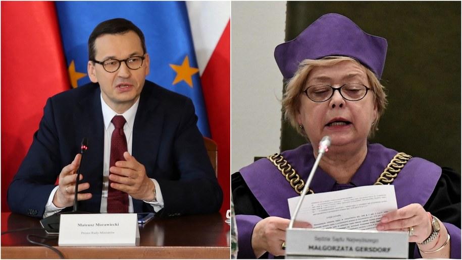 Premier Mateusz Morawiecki (fot. Andrzej Grygiel) i I prezes Sądu Najwyższego prof. Małgorzata Gersdorf (fot. Piotr Nowak) /PAP /