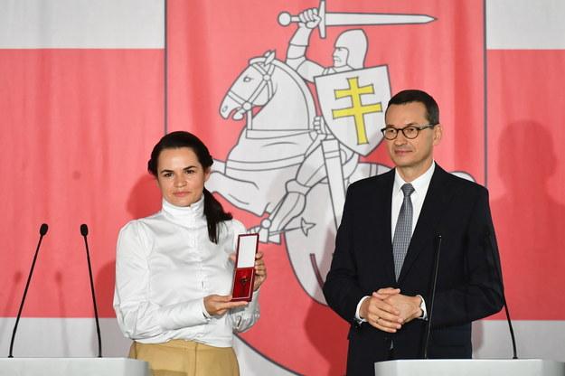 Premier Mateusz Morawiecki i liderka białoruskiej opozycji Swiatłana Cichanouska /Piotr Nowak /PAP