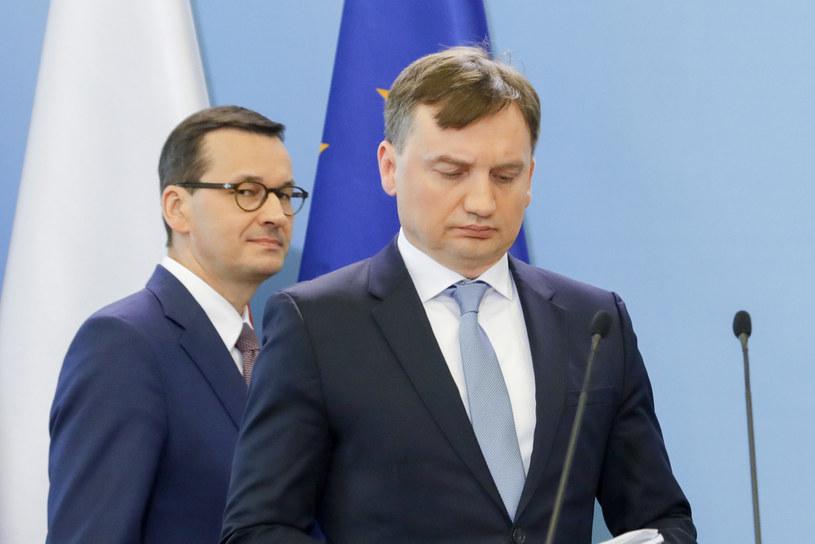 Premier Mateusz Morawiecki i minister sprawiedliwości Zbigniew Ziobro /Grzegorz Banaszak /Reporter