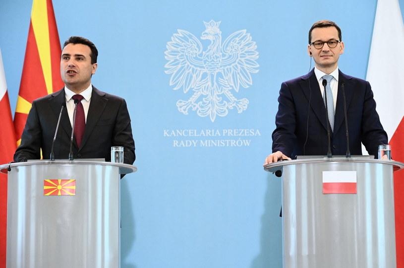 Premier Mateusz Morawiecki i premier Macedonii Zoran Zaew podczas wspólnej konferencji prasowej po spotkaniu w KPRM w Warszawie /Jacek Turczyk /PAP