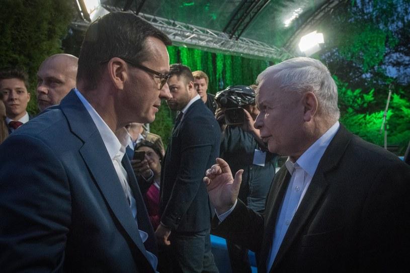 Premier Mateusz Morawiecki i prezes Jarosław Kaczyński / Jacek Domiński /Reporter