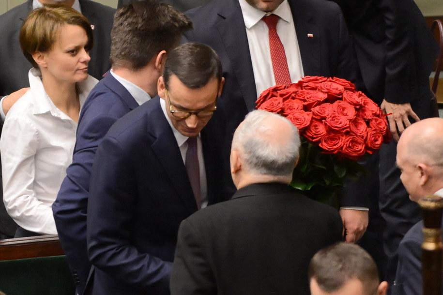 Premier Mateusz Morawiecki i prezes PiS Jarosław Kaczyński / Jakub Kamiński    /PAP