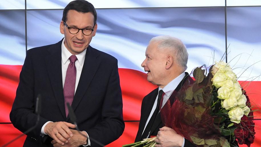 Premier Mateusz Morawiecki i prezes PiS Jarosław Kaczyński / Radek Pietruszka   /PAP