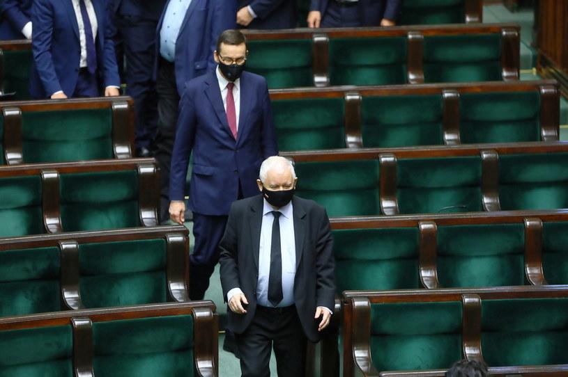 Premier Mateusz Morawiecki i prezes PiS Jarosław Kaczyński /Rafał Guz /PAP