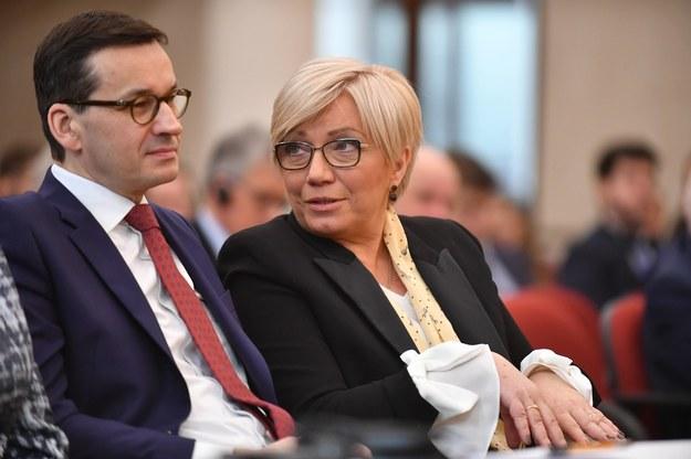Premier Mateusz Morawiecki i prezes Trybunału Konstytucyjnego Julia Przyłębska /Bartłomiej  Zborowski /PAP
