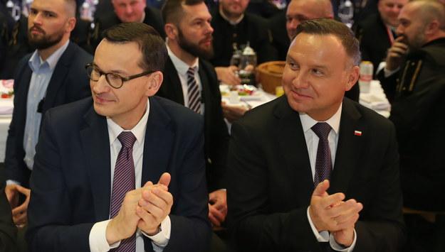 Premier Mateusz Morawiecki i prezydent Andrzej Duda / Andrzej Grygiel    /PAP