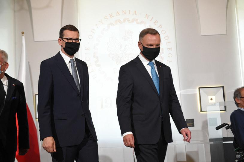 Premier Mateusz Morawiecki i prezydent Andrzej Duda /Zbyszek Kaczmarek /Reporter