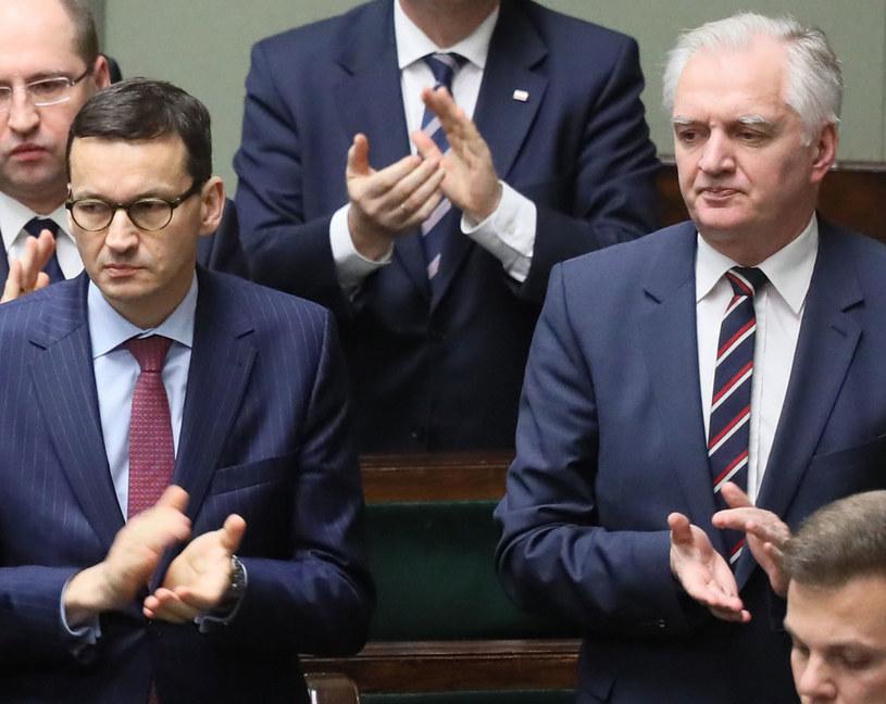 Premier Mateusz Morawiecki i wicepremier Jarosław Gowin /Paweł Supernak /PAP