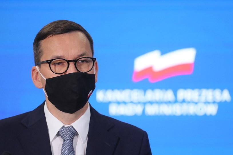 Premier Mateusz Morawiecki na dzisiejszej konferencji prasowej /PAP