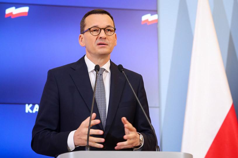 Premier Mateusz Morawiecki na konferencji prasowej /Tomasz Jastrzębowski /Reporter