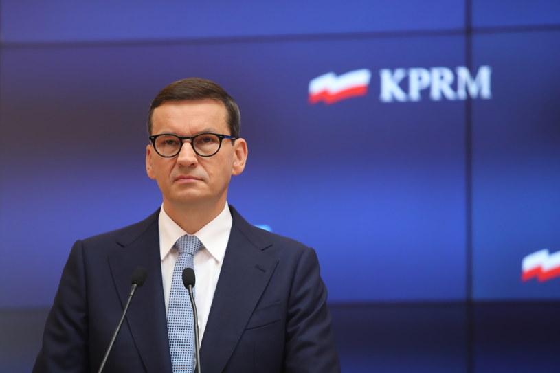 Premier Mateusz Morawiecki na konferencji prasowej /Wojciech Olkuśnik /PAP