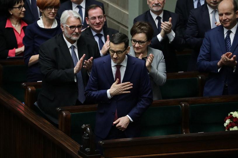 Premier Mateusz Morawiecki po wygłoszonym expose w Sejmie /Tomasz Gzell /PAP