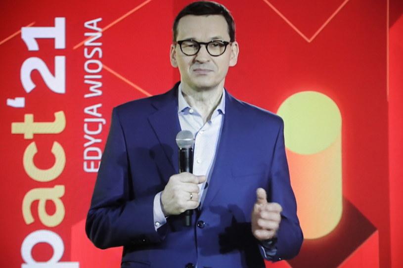 Premier Mateusz Morawiecki podczas Impact'21 /Wojciech Olkuśnik /PAP