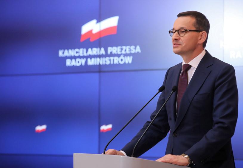 Premier Mateusz Morawiecki podczas konferencji po posiedzeniu rządu 24.09, podczas którego Rada Ministrów przyjęła projekt budżetu na 2020 rok. /Wojciech Olkuśnik /PAP