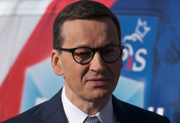 Premier Mateusz Morawiecki podczas konferencji prasowej na ulicy Nowogrodzkiej w Warszawie /Mateusz Marek /PAP