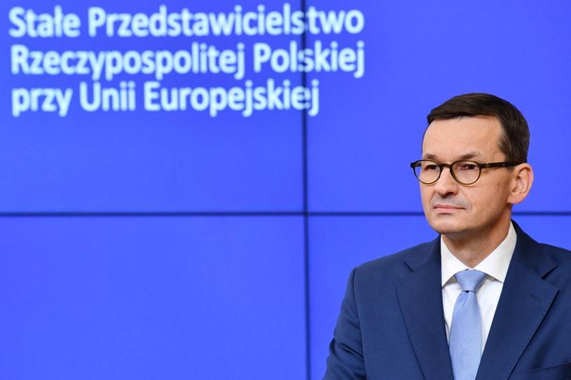 Premier Mateusz Morawiecki podczas konferencji prasowej po zakończeniu szczytu w Brukseli / Radek Pietruszka   /PAP