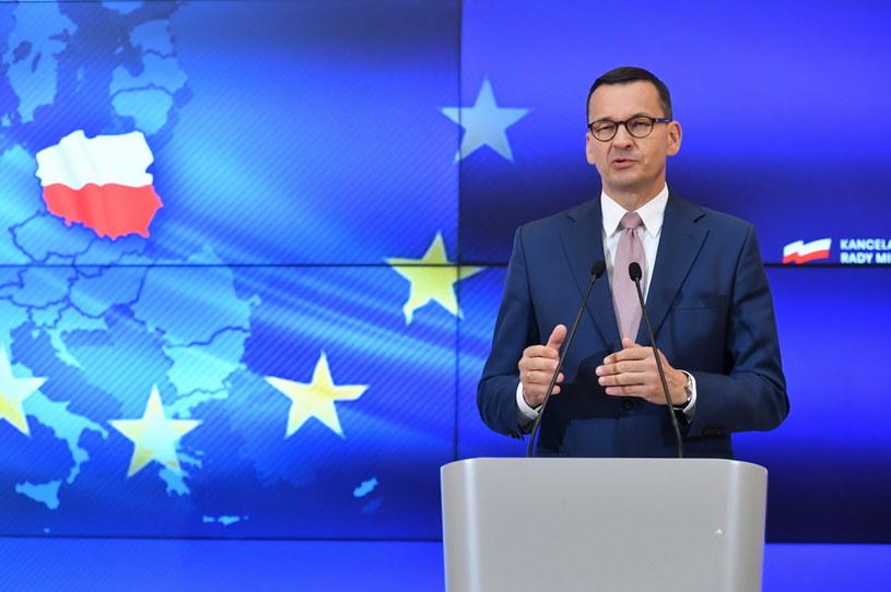 Premier Mateusz Morawiecki podczas konferencji prasowej w KPRM w Warszawie, po zakończeniu szczytu Rady Europejskiej /Piotr Nowak /PAP