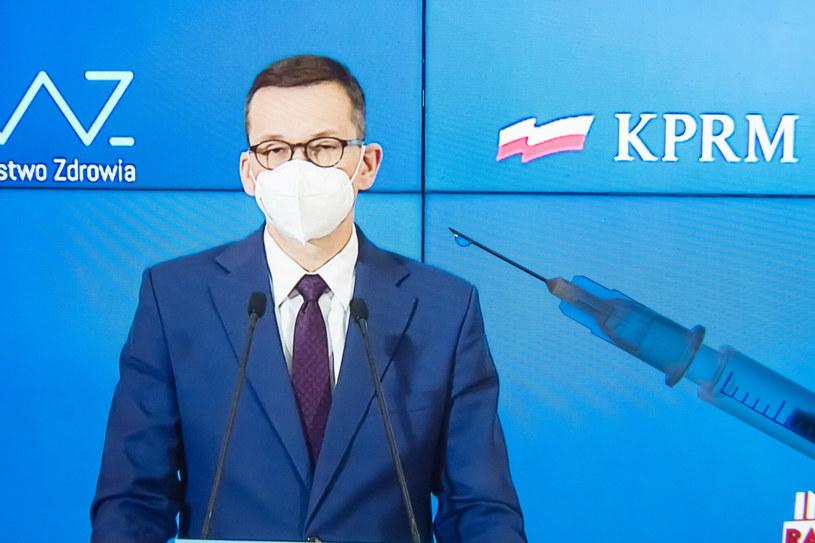 Premier Mateusz Morawiecki podczas konferencji prasowej /Wojciech Strozyk/REPORTER /Reporter