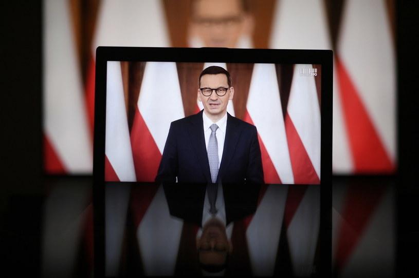 Premier Mateusz Morawiecki podczas Kongresu 590 /Marcin Obara /PAP