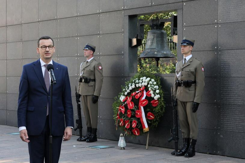 Premier Mateusz Morawiecki podczas obchodów w Warszawie /Paweł Supernak /PAP