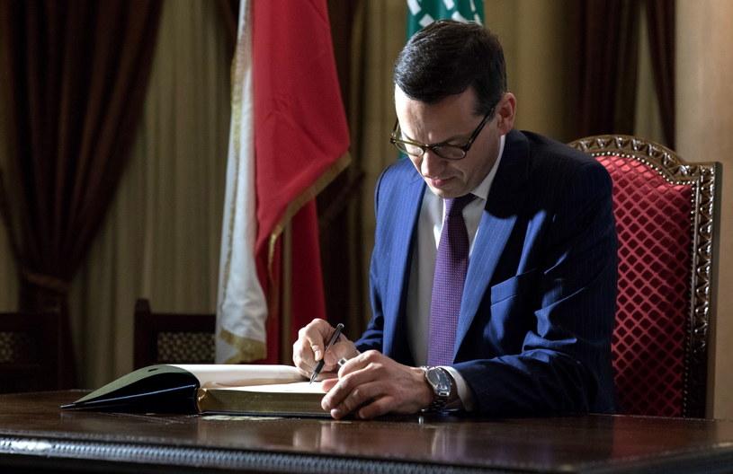 Premier Mateusz Morawiecki podczas oficjalnej wizyty w Libanie /Mateusz Rzewuski / KPRM /PAP