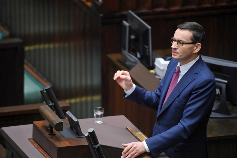 Premier Mateusz Morawiecki podczas pierwszego posiedzenia Sejmu nowej kadencji / Radek Pietruszka   /PAP