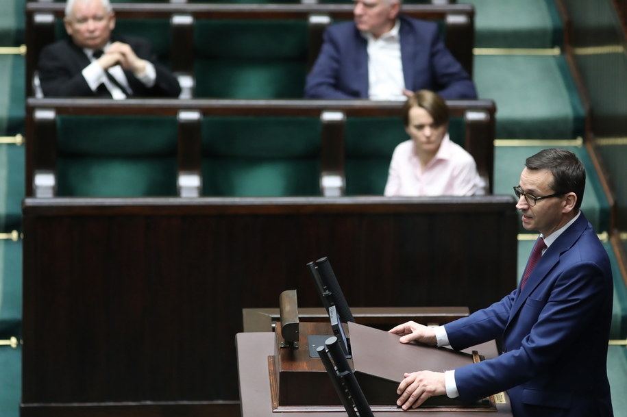 Premier Mateusz Morawiecki podczas posiedzenia Sejmu / Leszek Szymański    /PAP