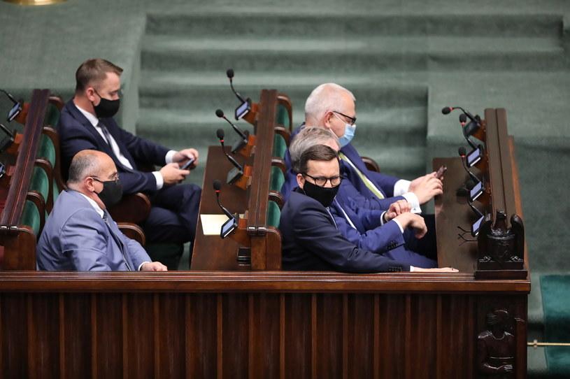 Premier Mateusz Morawiecki podczas posiedzenia Sejmu /PAP/Wojciech Olkuśnik /PAP