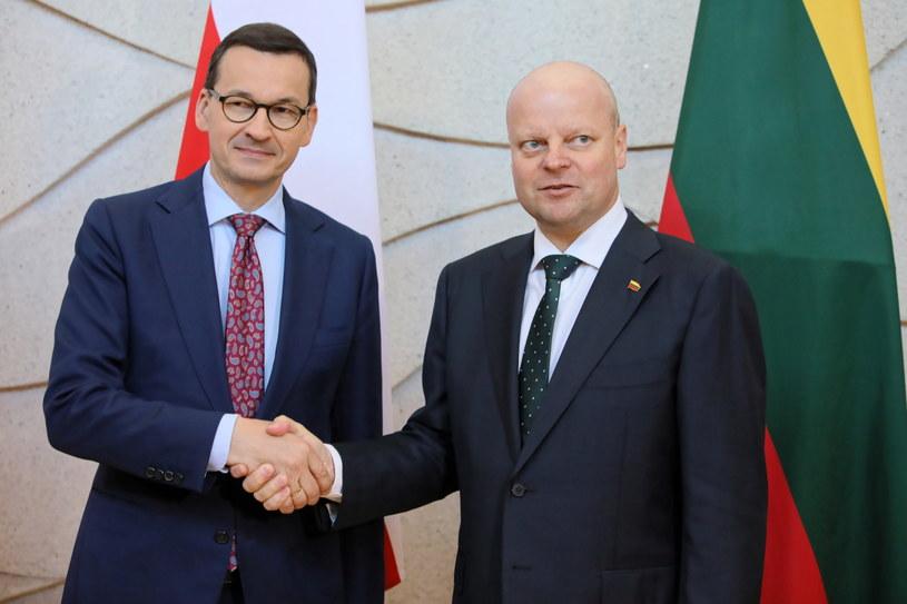 Premier Mateusz Morawiecki podczas powitania przez premiera Republiki Litewskiej Sauliusa Skvernelisa w Wilnie / Leszek Szymański    /PAP